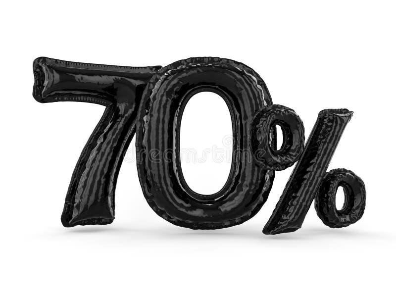 Schwarze siebzig Prozent machten von den aufblasbaren Ballonen Prozentsatz 3d stock abbildung