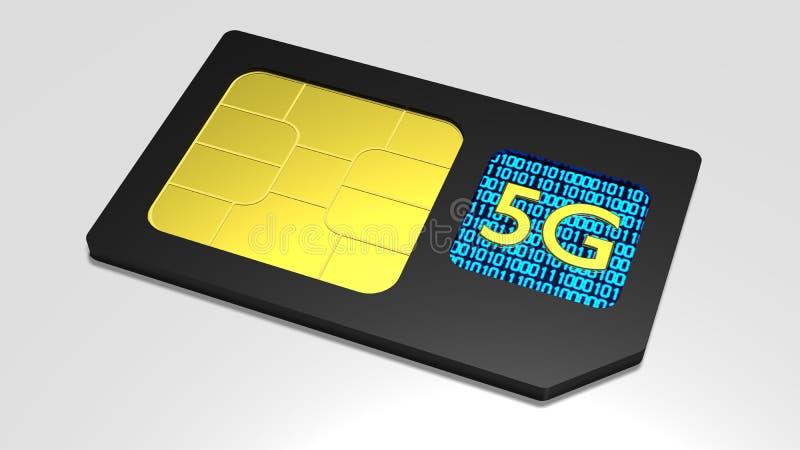 Schwarze SIM-Karte auf Weiß mit schnellem Netz des Symbols 5g stock abbildung
