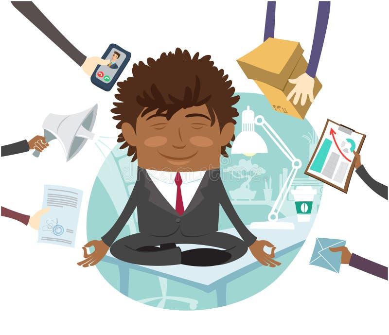 Schwarze sitzende Ruhe des Geschäftsmannes auf der Tabelle, die im Büro meditiert vektor abbildung