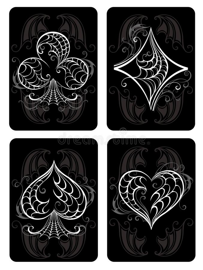 Schwarze Spielkarten stock abbildung
