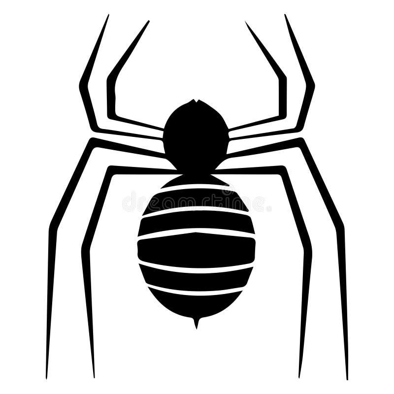 Schwarze Spinne auf Weiß stock abbildung