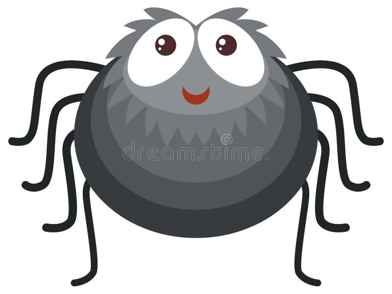 Schwarze Spinne auf weißem Hintergrund stock abbildung