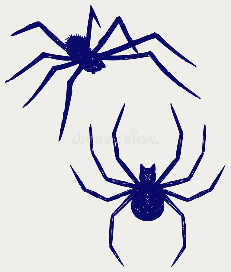 Schwarze Spinne Kritzeln Sie Art lizenzfreie abbildung