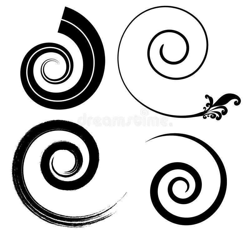 Schwarze Spiralen vektor abbildung
