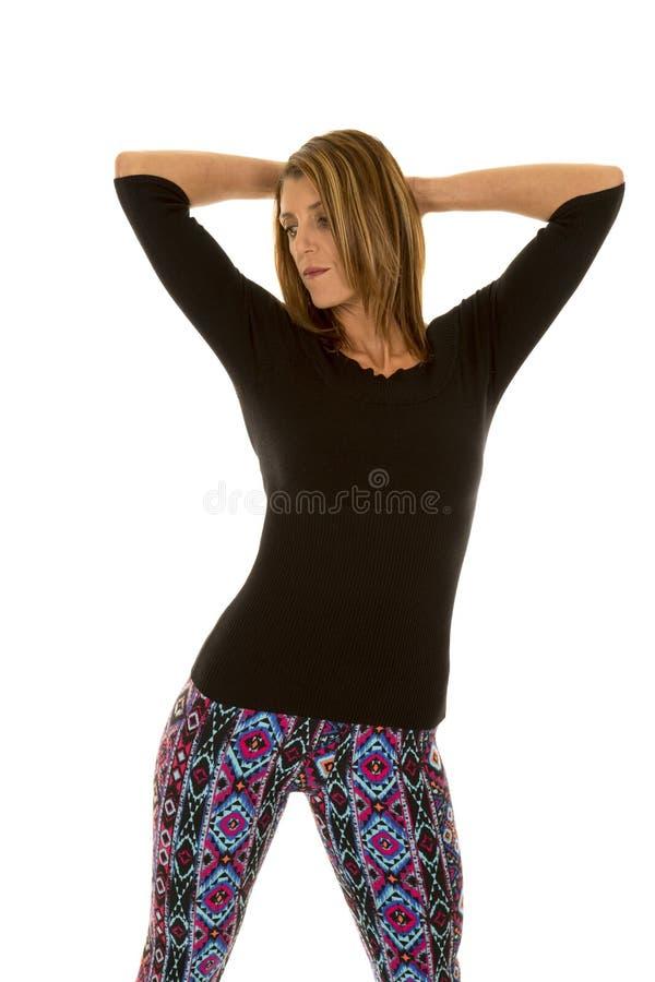 Schwarze Spitze der Frau und Gamaschenhände oben lizenzfreies stockbild