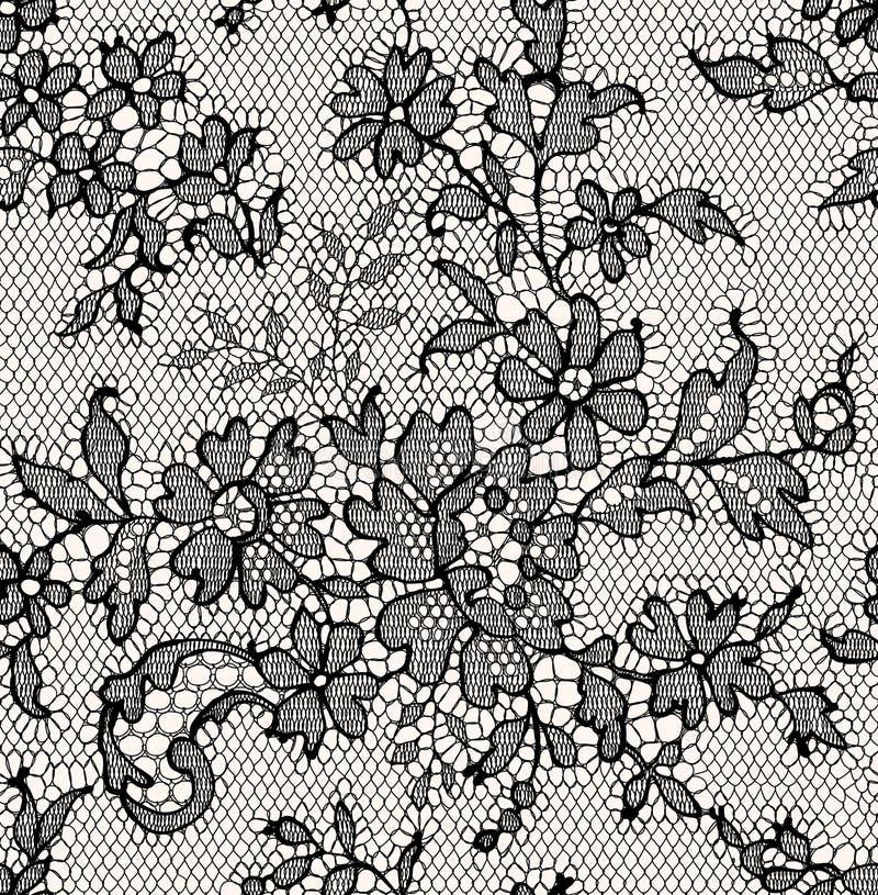 Schwarze Spitze Nahtloses Muster stock abbildung