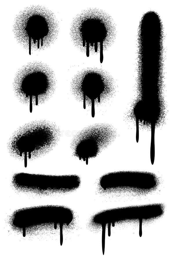 Schwarze Sprühfarbe mit den Tropfenfängern lokalisiert auf weißem Vektorsatz vektor abbildung