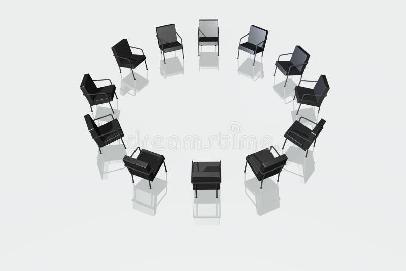 Schwarze Stühle auf weißem Hintergrund lizenzfreie abbildung