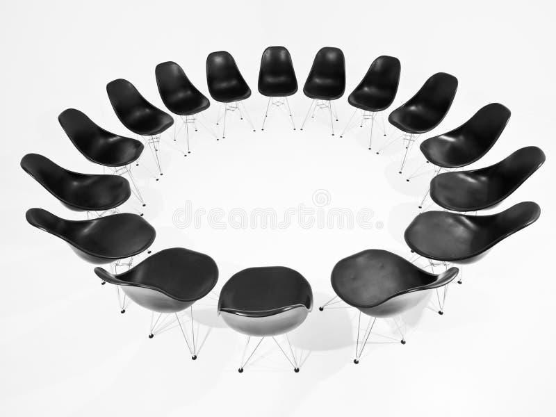 Schwarze Stühle in einem Kreis vektor abbildung