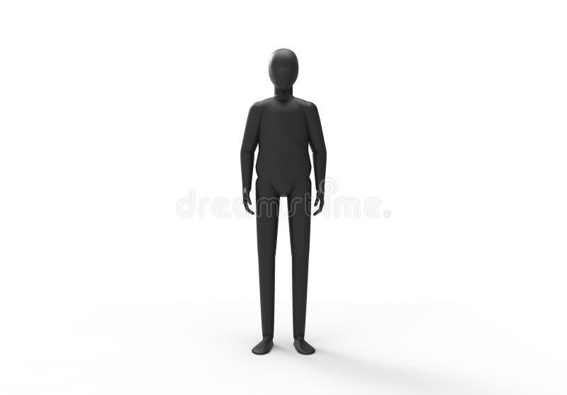 Schwarze stehende Lage eines Mannequins lizenzfreie abbildung