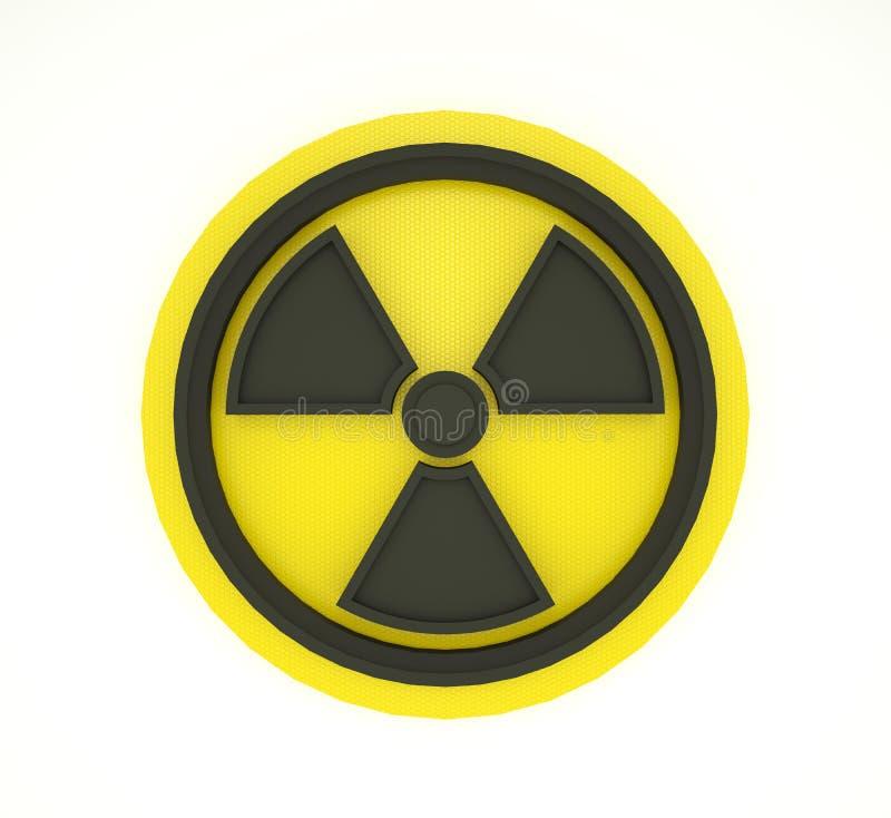 Schwarze Strahlung unterzeichnen im Kreis auf weißem und gelbem Hintergrund Abbildung 3D lizenzfreie abbildung