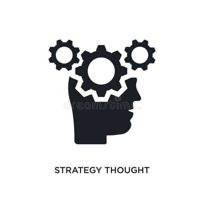 schwarze Strategie dachte lokalisierte Vektorikone einfache Elementillustration von den stategy und Konzeptvektorstartikonen stra stock abbildung
