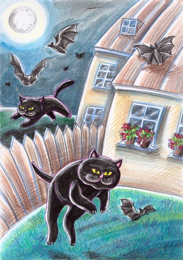 Schwarze Streukatzen, die Schläger jagen stock abbildung