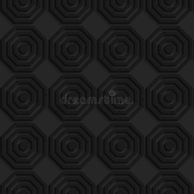 Schwarze strukturierte einfache gestreifte Plastikhexagone in der Reihe vektor abbildung