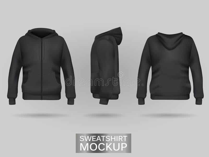 Schwarze Sweatshirt Hoodieschablone stock abbildung