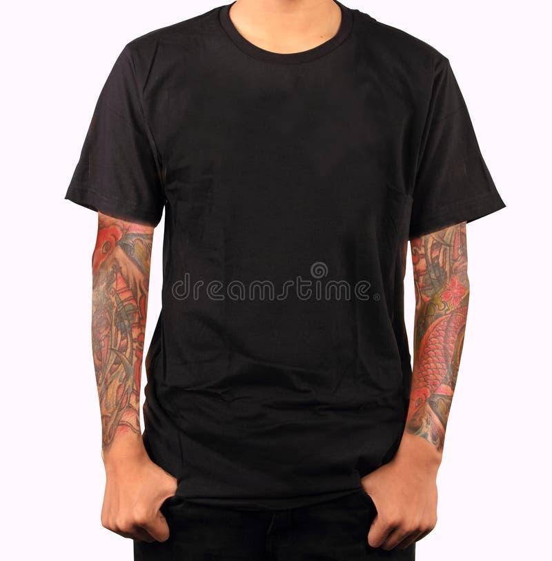 Schwarze T-Shirt Schablone stockfoto