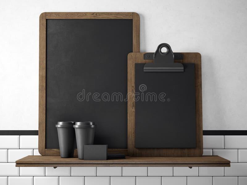 Schwarze Tafel auf Bücherregal mit zwei leeren Kaffeetassen, businesscards und leerem Schreibtisch Wiedergabe 3d stockfoto