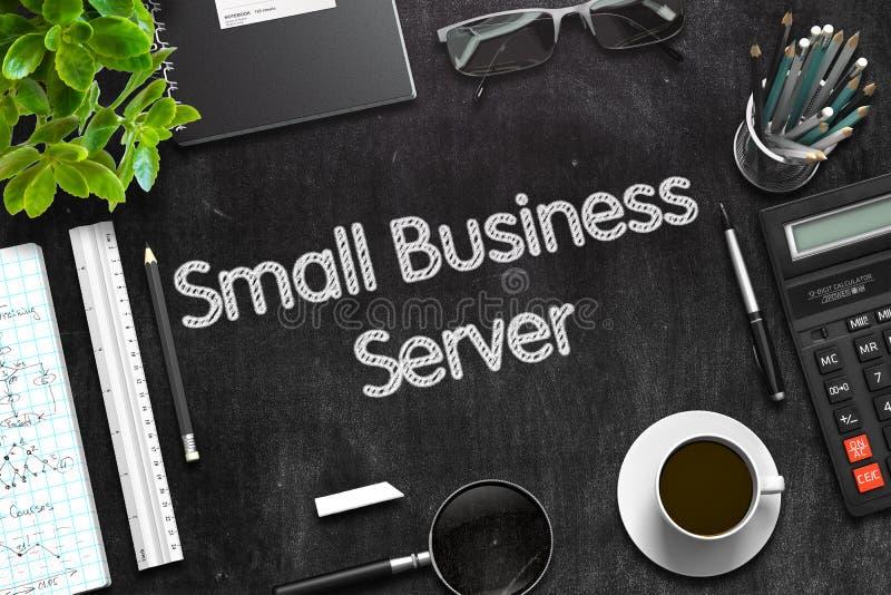 Schwarze Tafel mit Kleinbetrieb-Server Wiedergabe 3d lizenzfreies stockbild