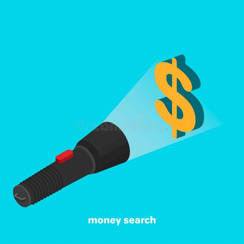 Schwarze Taschenlampe mit rotem Knopf auf blauem Hintergrund, Taschenlampe belichtet Dollarzeichen stock abbildung