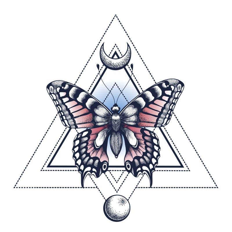 Schwarze Tinte Schmetterling, Pyramide, Halbmond und Mond Tätowierung Design Mystisches Symbol der Seele, Unsterblichkeit, Wieder vektor abbildung