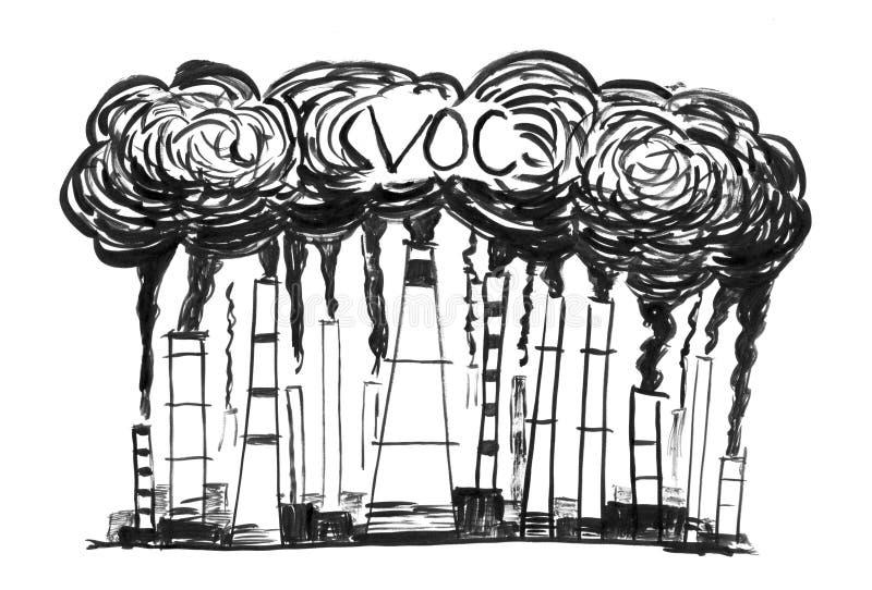 Schwarze Tinten-Schmutz-Handzeichnung von rauchenden Schornsteinen, Konzept der Industrie oder Luft der Fabrik-flüchtige organisc lizenzfreies stockfoto