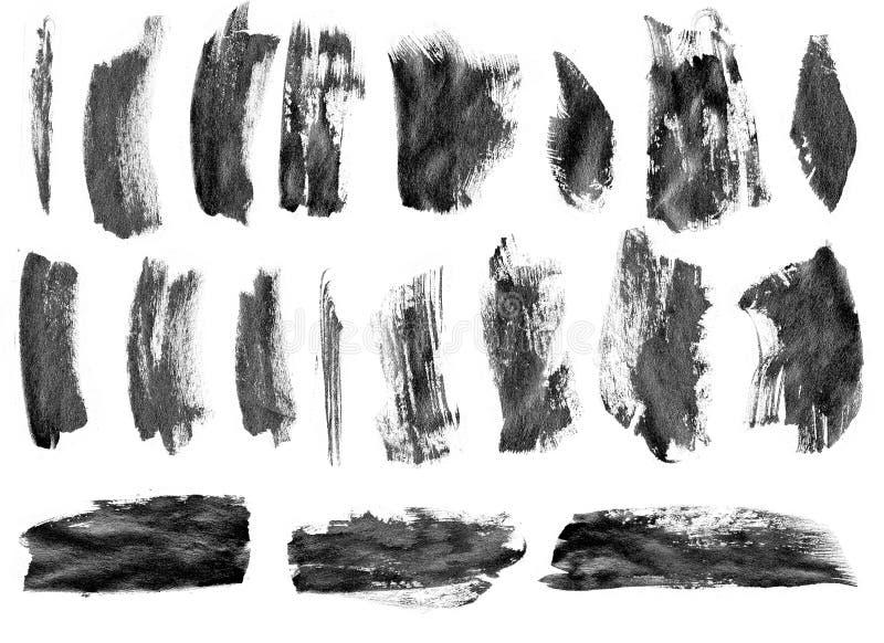 Schwarze Tintenschmutz-Bürstensatzanschläge auf weißem Hintergrund stockfotos