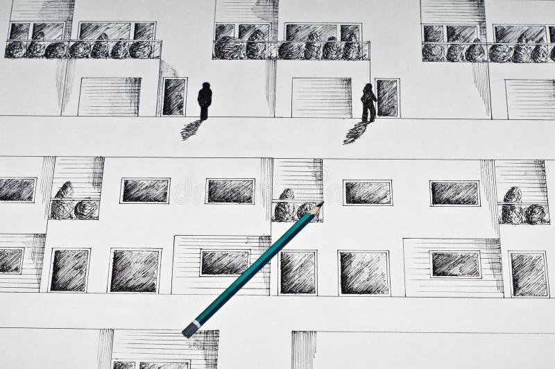 Schwarze Tintenzeichnung einer Erhebung lizenzfreie stockbilder