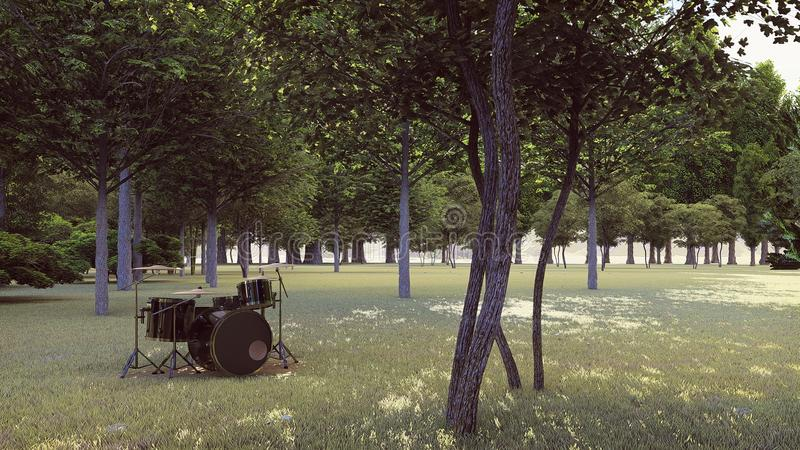 Schwarze Trommeln im Wald lizenzfreie stockfotografie