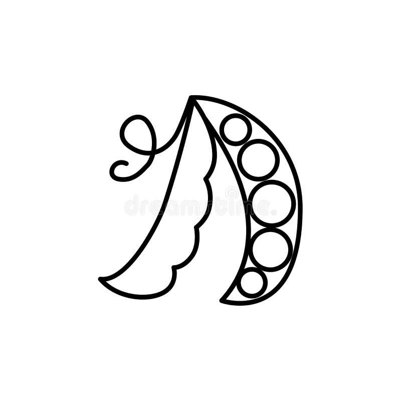 Schwarze u. weiße Vektorillustration der Erbsenhülse mit Samen Linie IC stock abbildung