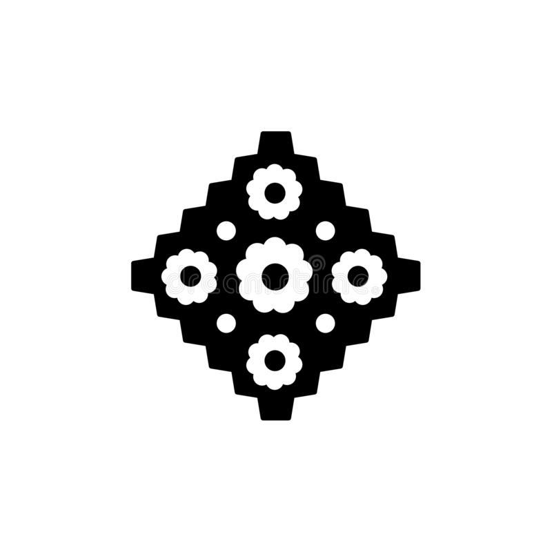 Schwarze u. weiße Vektorillustration der Papierserviette mit Blumenmuster Flache Ikone von decoupage Materialien für diy Projekte stock abbildung