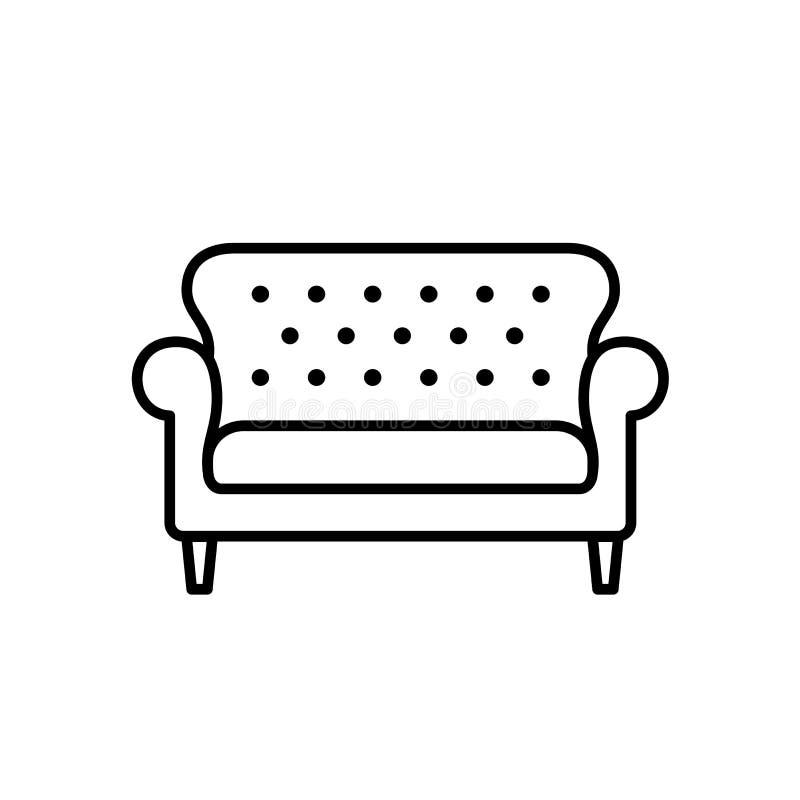 Schwarze u. weiße Vektorillustration von bridgewater Sofa Linie Ikone lizenzfreie abbildung