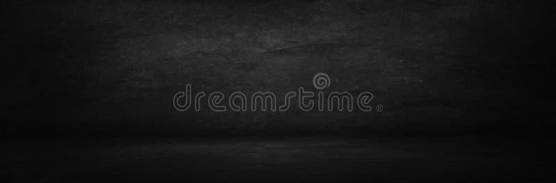 schwarze und dunkle Kreidebrettfahne, leere Innenwand und studi stockfotos