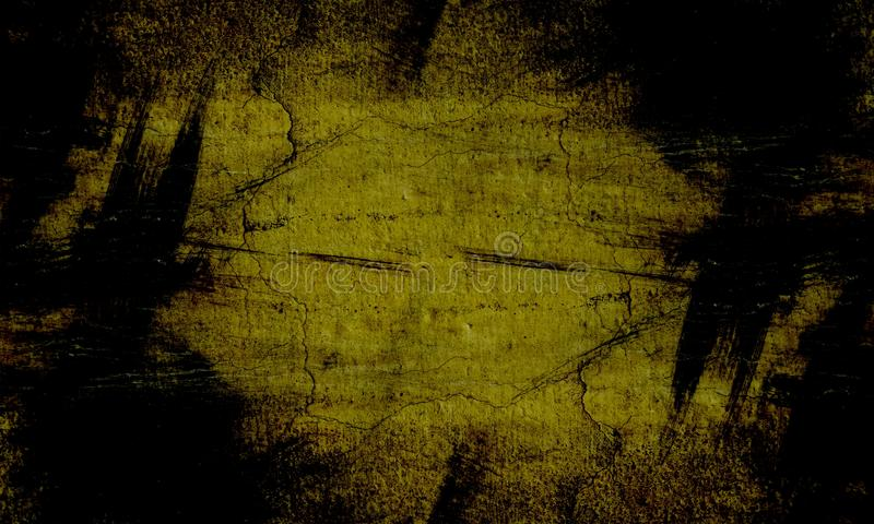 Schwarze und gelbe B?rstenanschlag-Wandbeschaffenheit des Schmutzgr?ns des konkreten Bodenhintergrundes f?r Schaffungszusammenfas stockfoto