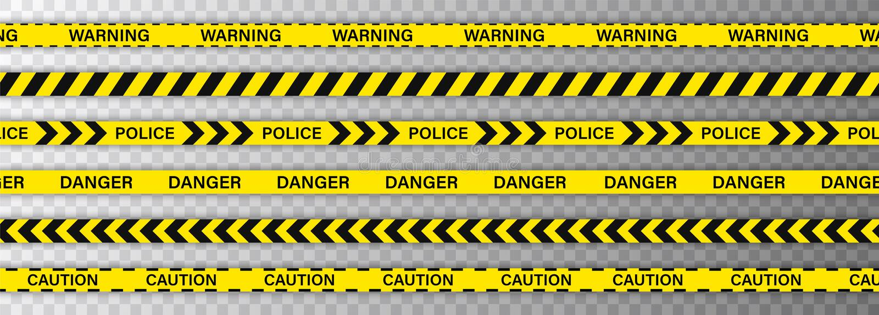 Schwarze und gelbe Streifengrenze der kreativen Polizeilinie Polizei, die Warnung, im Bau, kreuzt nicht, zu stoppen, Gefahr stock abbildung