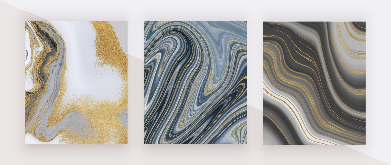 Schwarze und goldene Funkelntinte, die flüssige Marmorbeschaffenheit malt Abstraktes Muster Modische Hintergründe für Tapete, Fli stockfotografie