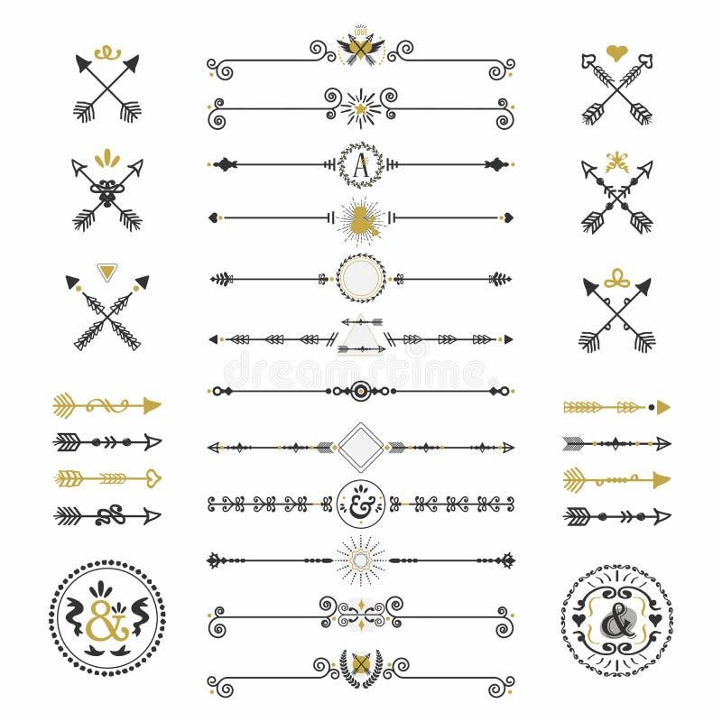 Schwarze und goldene Hand gezeichnete Pfeile und Teilerikonen eingestellt lizenzfreie abbildung