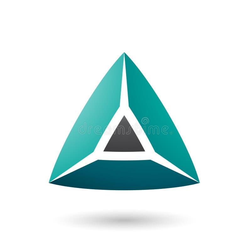 Schwarze und grüne Pyramidical Vektor-Illustration der Form-3d lizenzfreie abbildung