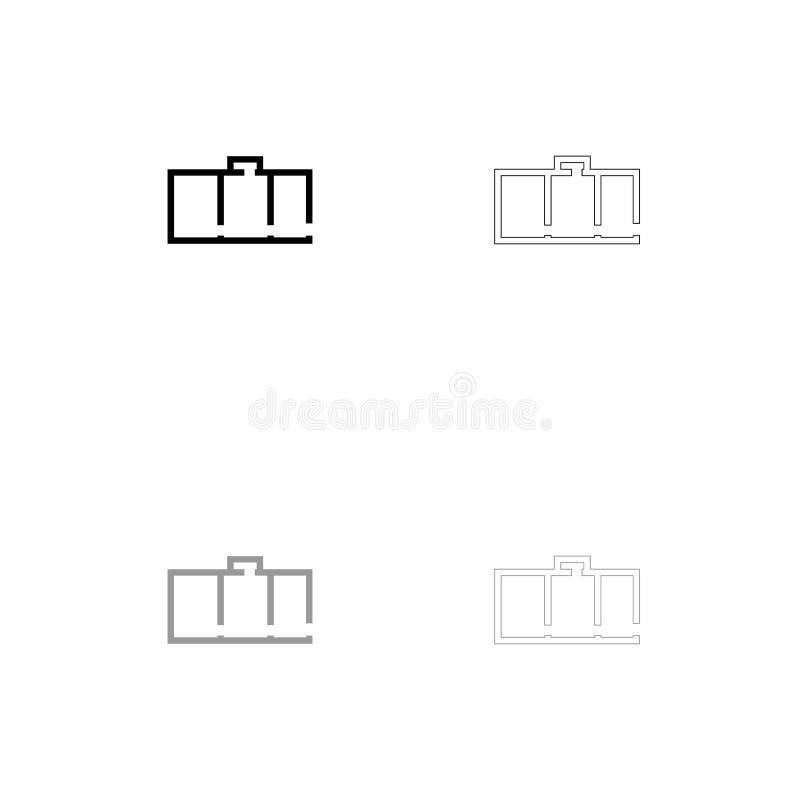 Schwarze und graue Satzikone des Wohnungsplanes lizenzfreie abbildung