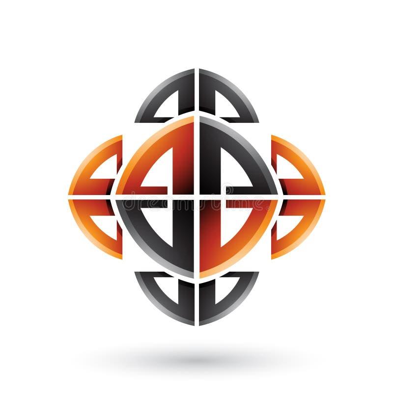 Schwarze und orange abstrakte dekorative Bogen-Formen lokalisiert auf einem weißen Hintergrund stock abbildung