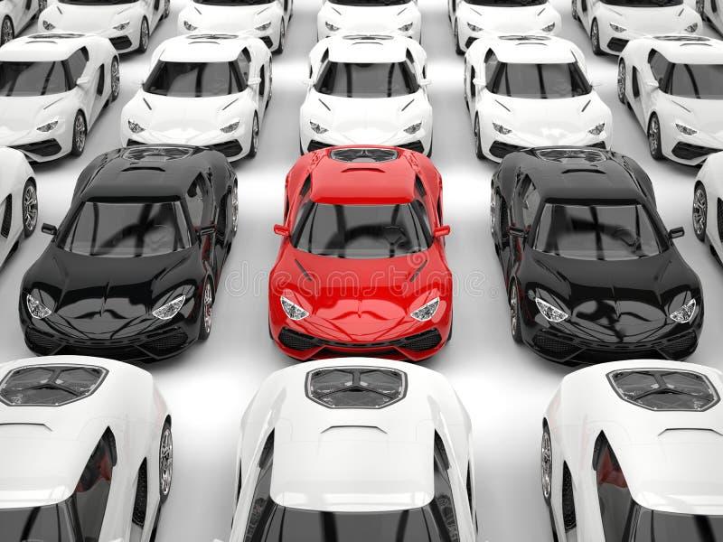 Schwarze und rote Sportautos unter vielen weißen Autos vektor abbildung