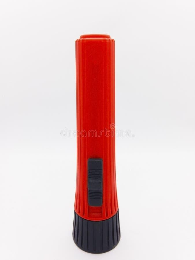 Schwarze und rote Taschenlampe lokalisiert auf weißem Hintergrund mit clipp lizenzfreie stockbilder