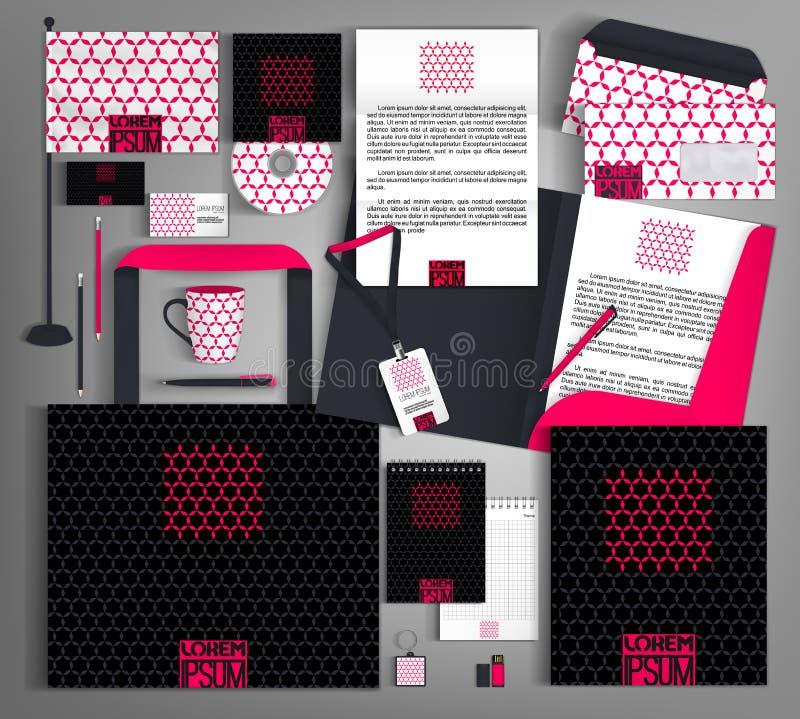 Schwarze Unternehmensidentitä5 mit einem hellen rosa Element lizenzfreie abbildung
