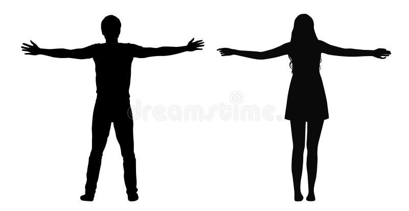 Schwarze Vektorschattenbilder der Frauen- und Mannstellung mit den verbreiteten Armen lokalisiert auf weißem Hintergrund lizenzfreie abbildung
