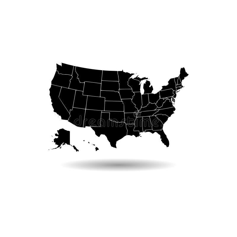 Schwarze Vereinigte Staaten der amerikanischer Kartenikone oder -logos lizenzfreie abbildung