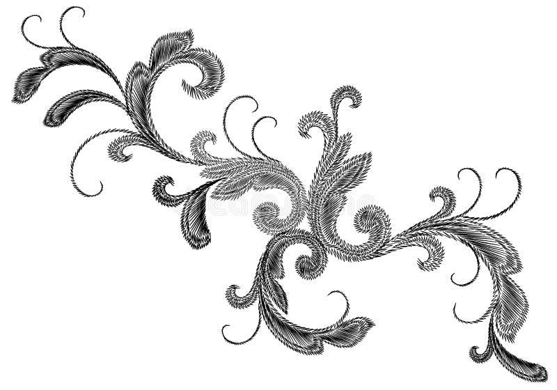 Schwarze viktorianische Stickerei-Blumenverzierung Barocker Gestaltungselementvektor der Stichbeschaffenheitsmodedruckfleckenblum vektor abbildung