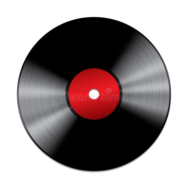Schwarze Vinylaufzeichnung lokalisiert auf weißem Hintergrund vektor abbildung