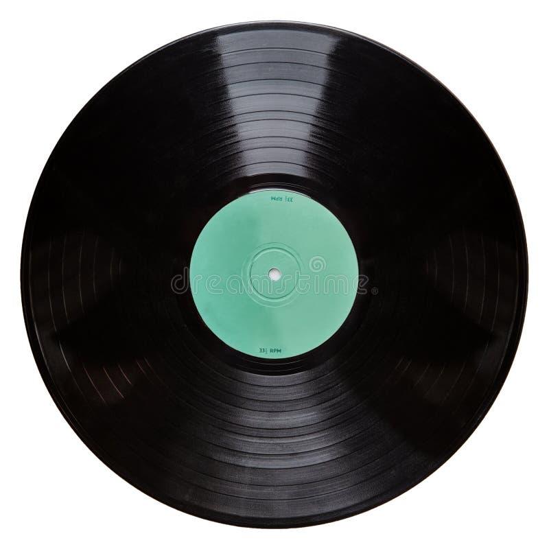Schwarze Vinylaufzeichnung lokalisiert auf weißem Hintergrund lizenzfreie stockbilder