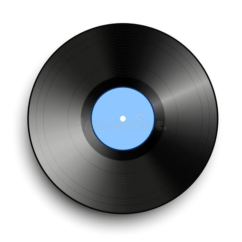 Schwarze Vinylaufzeichnung lokalisiert auf weißem Hintergrund Musikscheibe vektor abbildung