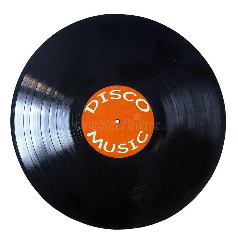 Schwarze Vinylaufzeichnung lokalisiert auf wei?em Hintergrund - Discomusik lizenzfreie stockfotos