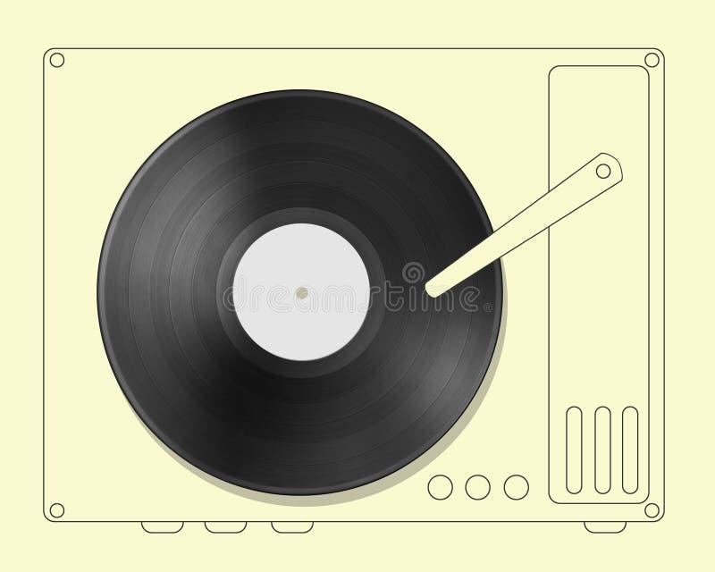 Schwarze Vinylaufzeichnungsdiskette mit Hand gezeichnetem Spieler stockfotografie